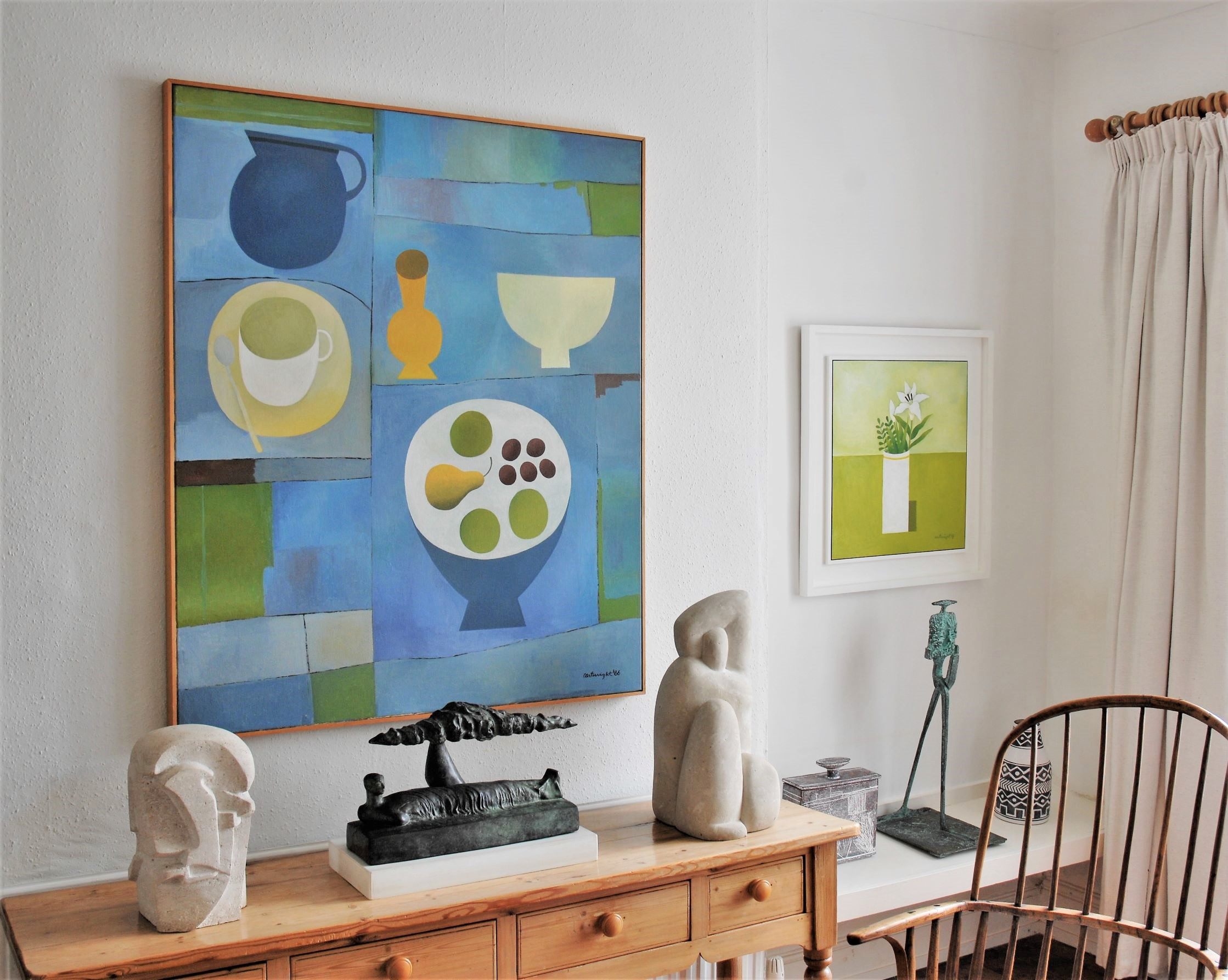 Two original paintings by Reg Cartwright, English Contemporary Still Life and Landscape Painter.