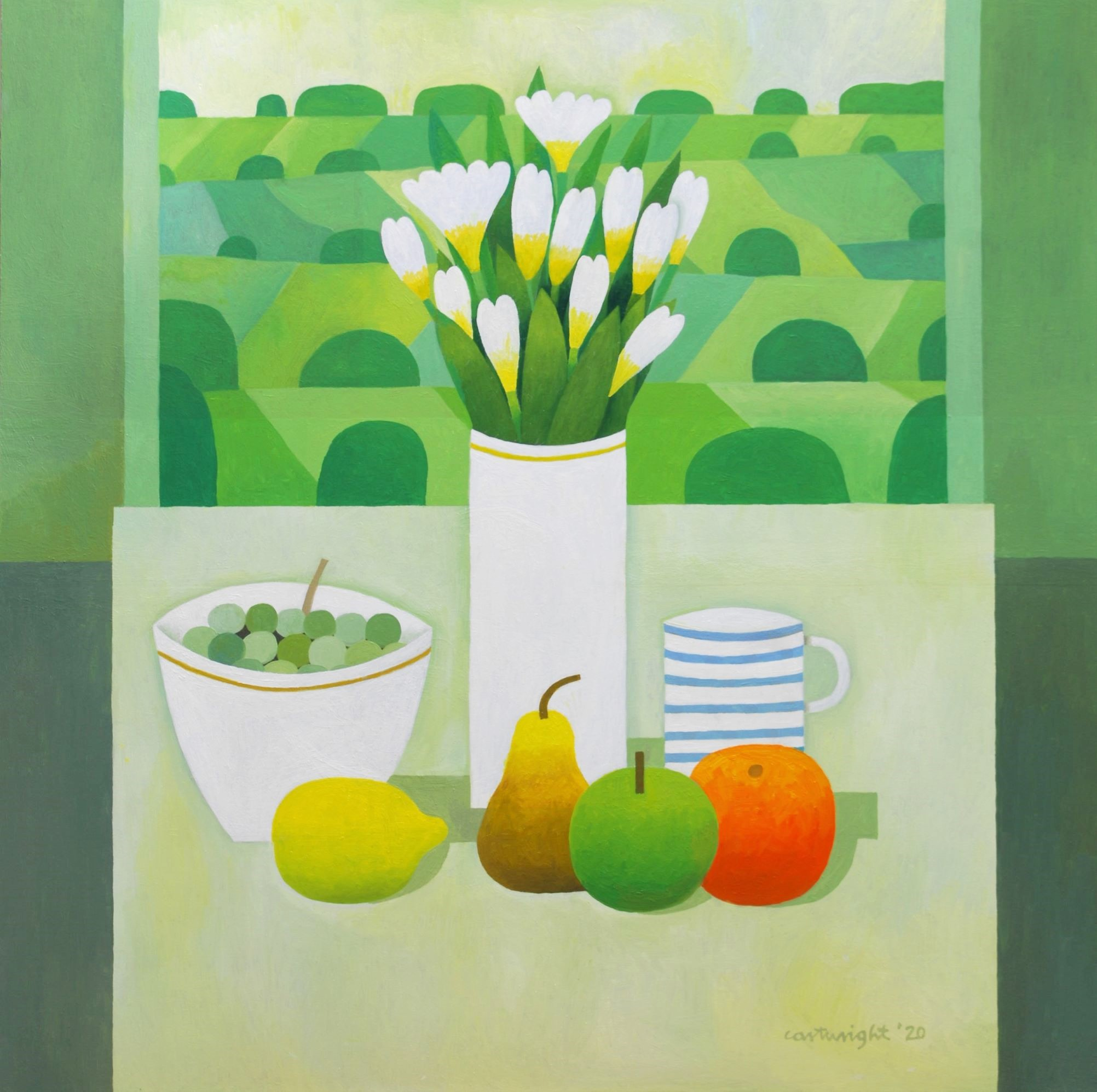 Painting by Reg Cartwright- Still Life with English Landscape