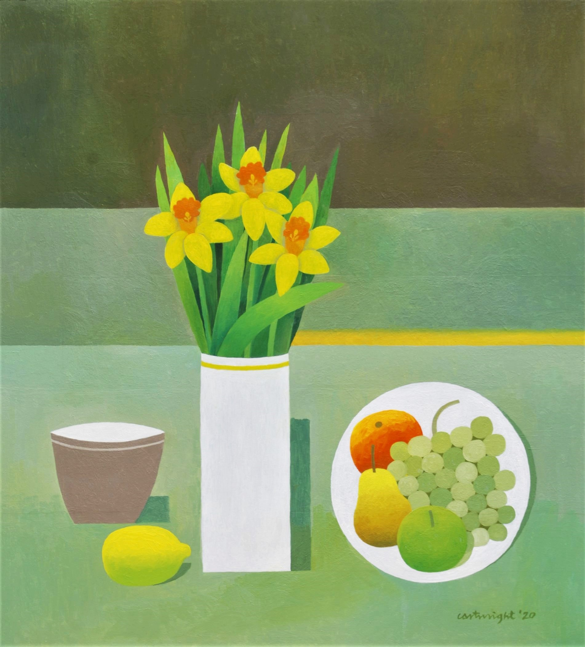 Painting by Reg Cartwright- Still Life with Daffodils.