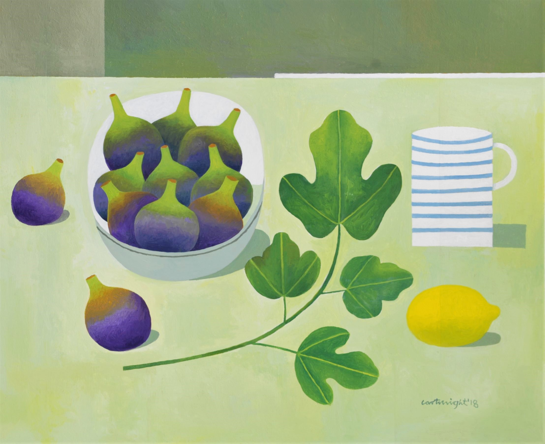 Painting by Reg Cartwright- Still Life with figs