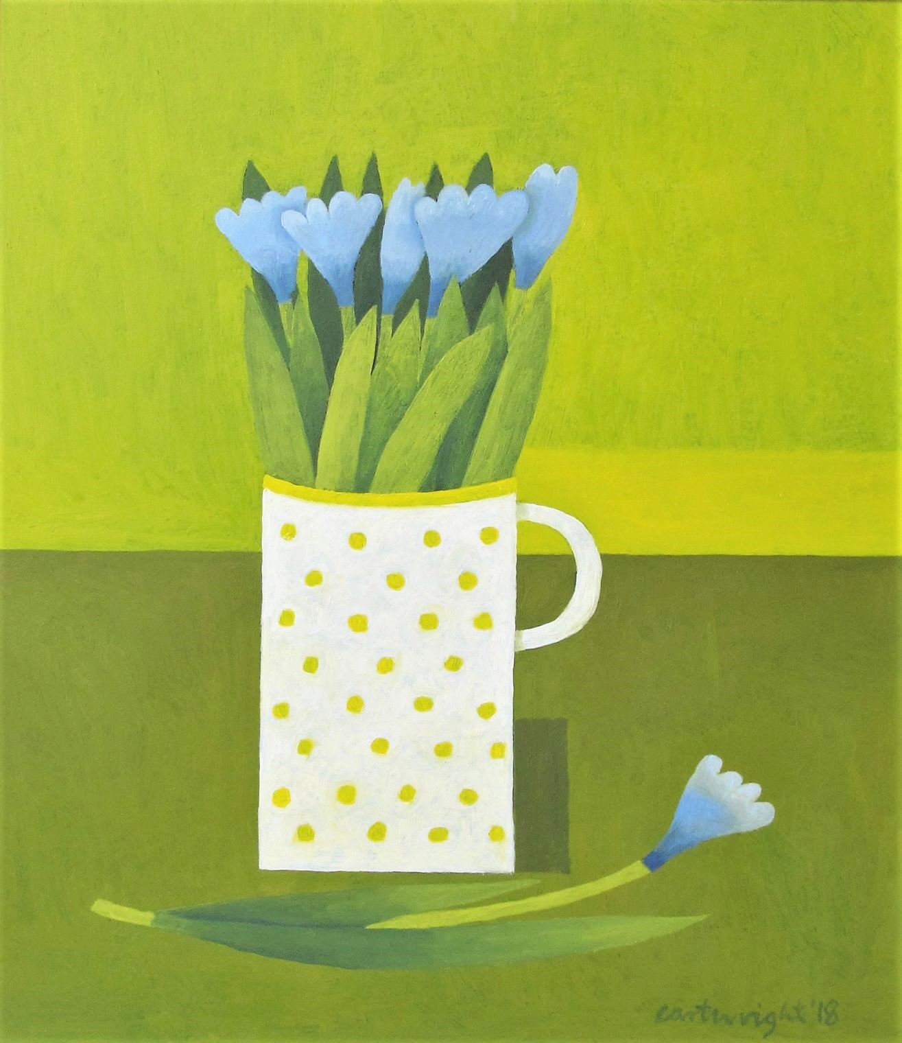 Blue flowers and yellow polka dot mug against a green background. Reg Cartwright oil painting 2020