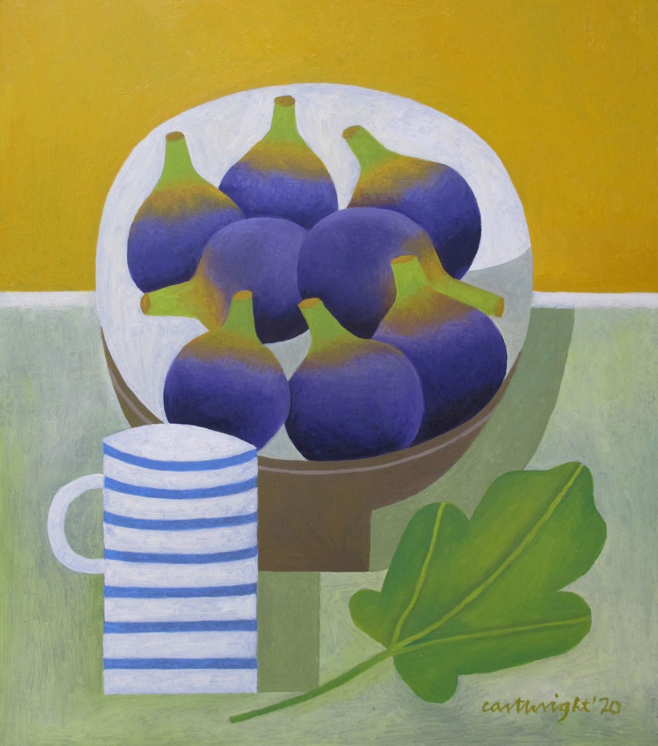 Figs in grey bowl with fig leaf and white /blue mug against yellow and grey background. Painted by Reg Cartwright 2020
