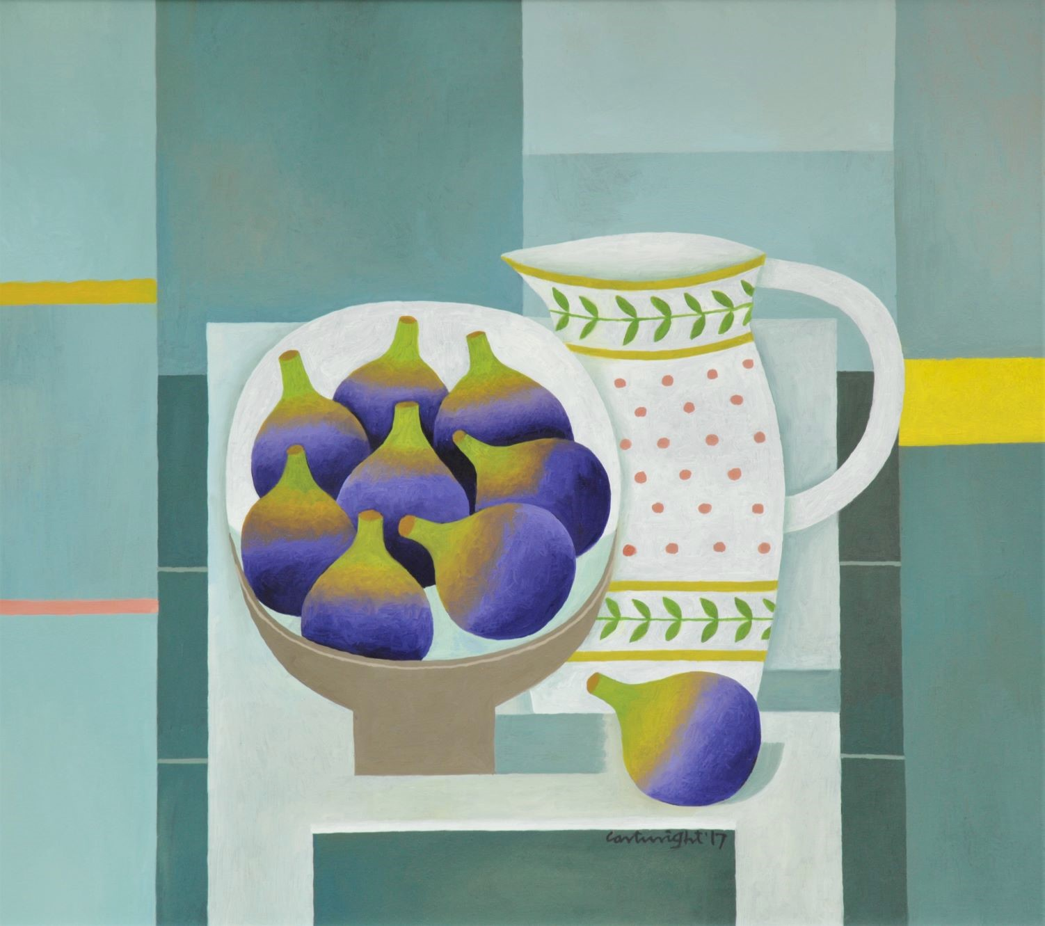 Painting by Reg Cartwright- Still Life with Figs and Jug