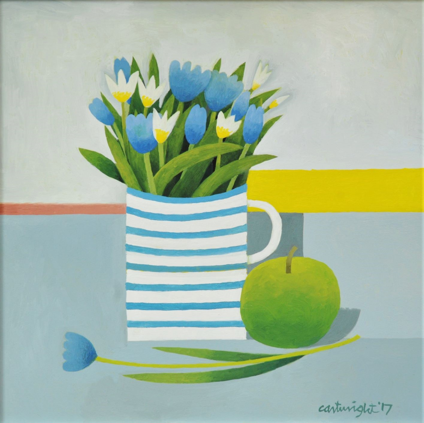Painting by Reg Cartwright- Still Life with Mug of Flowers